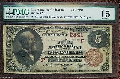 1882 $5 National Currency Los Angeles California Graded Pmg 1 Red Seal, Rare!