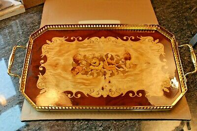 Vintage TRAY Italian Inlaid WOOD COCKTAIL SERVING VANITY TRAY BRASS WORK ORNATE