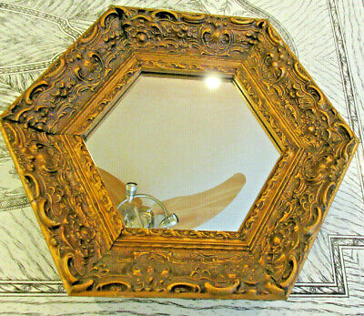 Vintage Edward Art Products Real Wood Ornate Frame w Mirror Hand Rubbed