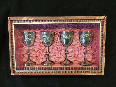 Chinese Export Silver Dragon / Flaming Pearl Cordial Goblet Cup Presentation Box