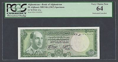 Afghanistan 50 Afghanis Sh1346 -1967 P43s Specimen Perforated Uncirculated