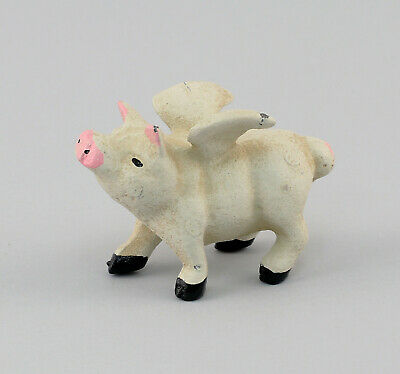 9977561 Cast Iron Figure Pig White with Wings L10cm