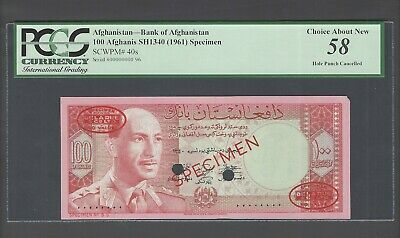Afghanistan 100 Afghanis Sh1340 -1961 P40s Specimen About Uncirculated