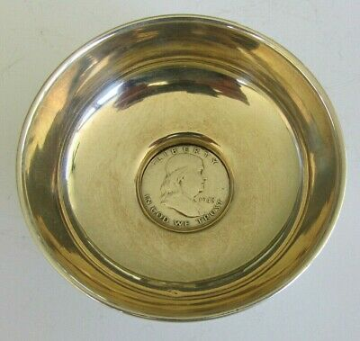Vintage & Collectible Sterling Silver Bowl With Silver 1948 Franklin Half Dollar