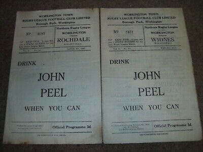 Workington Town Rugby League Programme Collection Season 1946/47 Rochdale Widnes