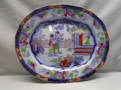 Early Ashworth Flow Blue Chinese Pattern Platter