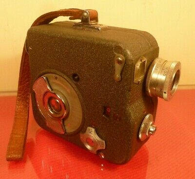 """PATHE NATIONAL II 9.5mm CINE CAMERA: WITH """"H"""" CHARGER: f/1.9 BERTHIOT LENS 1956"""