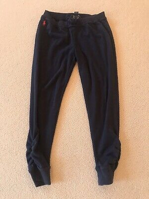 Girls Navy Cotton Tracksuit Bottoms By Ralph Lauren Size L 12-14 :More 9-11 Vgc