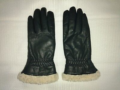 VTG Ladies Black Leather Thinsulate Lined Faux Shearling Gloves Small