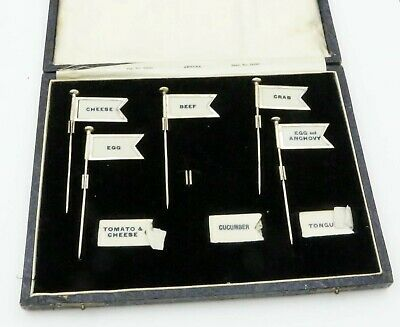 English Sterling Silver FLAG SANDWICH MARKERS in BOX