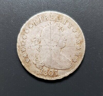 1807 Draped Bust - Early Silver Quarter 25C - Low Mintage - Excellent Detail!