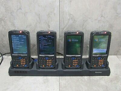 Lot of 4 Intermec CN50 Mobile Computer Scanners + Win Mobile + AD24 Quad Dock
