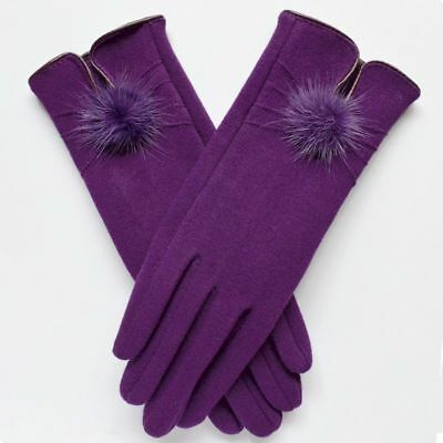 Women Gloves Mittens Winter Warm Fashion Ladies Wool Soft Mink Ball Thermal
