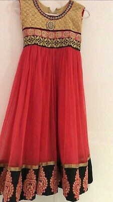 Indian Girls Suit Cotton Coral Pink And Gold Size 32/age 11-12