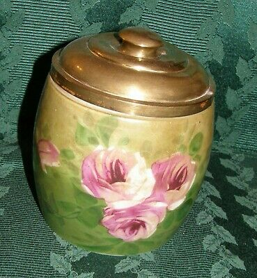 Antique Hand Painted Roses On Milk Glass Biscuit Jar Brass Lid