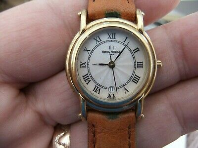 Michel Herbelin Paris Gold Plated Ladies Watch With Brown Strap 12823