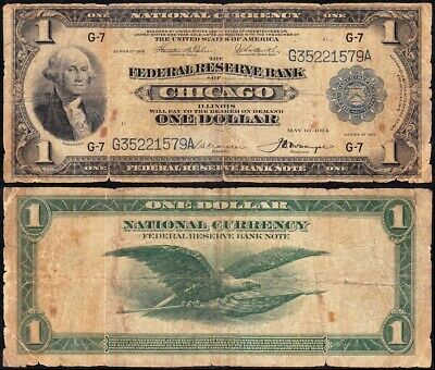 """Circulated 1918 $1 Chicago """"GREEN EAGLE"""" FRBN Note! FREE SHIPPING! G35221579A"""