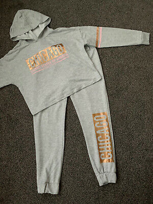 Girls Grey And Rose Gold Primark Tracksuit/ Outfit  - Size 13-14 Years
