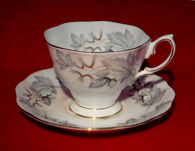 4 SETS of ROYAL ALBERT *SILVER MAPLE* CUPS & SAUCERS GOLD TRIM ENGLAND