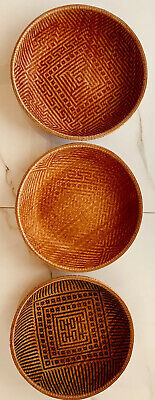 "Vintage Set of 3 Round High Quality Nesting Baskets ~16"", 15"" and 14"" X ~5"" ***"