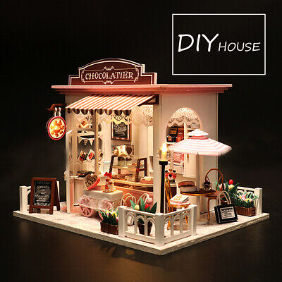 Doll House Wooden Dollhouse Miniature Assembling 3D Puzzle Toy DIY Kit LED Light