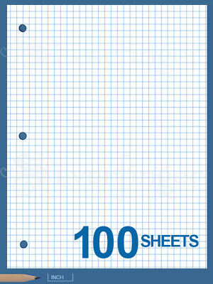 "GRAPH PAPER 100 Sheets 1/4"" Quad Ruled Loose Leaf 8.5 x11"" Filler 3 Hole Punched"