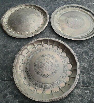 3 Vintage Brass Islamic Style Wall Plaques Plates Trays Hangings