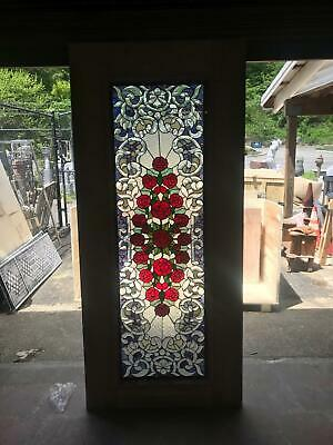 Beautiful Hand Made Stained Glass Rose  Entry Door - An7