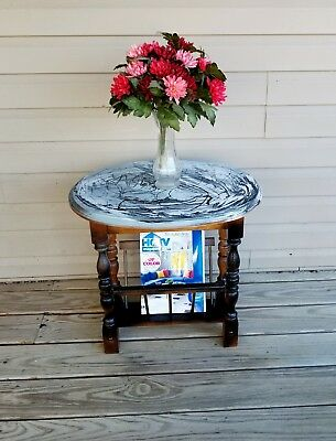 Vintage End Table/Magazine Rack/Painted Side Table/Nightstand
