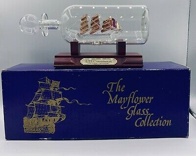 Ship In A Bottle Constitution  The Mayflower Glass Collection Engla Nd