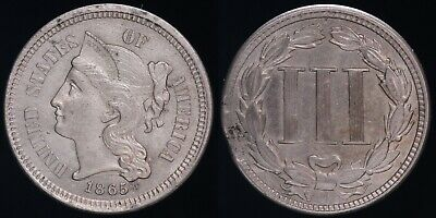 1865 3¢ Cent Nickel - Uncirculated - Corrosion on Reverse