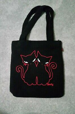 Vintage Emily Strange Soft Black Purse, Zippered closure, Red outlined Cats