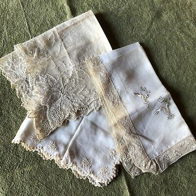 3 antique handkerchief, Silk And Linen.