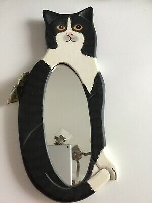 Vintage 1980's Wooden Cat With Mirror