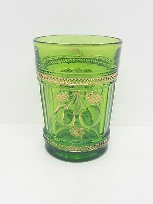 EAPG  Northwood Peach and Cable Green Tumbler With Gold Gild 1910