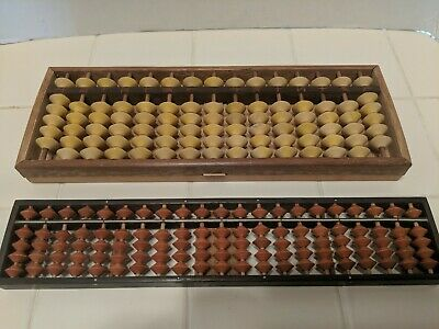 2 Vintage Abacus Asian Chinese Calculator Antique Counter