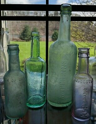 Lot 1890's Antique Worcestershire Sauce Bottles Lea & Perrins North England A&P