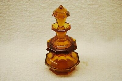 Beautiful Victorian Amber Cut Glass Perfume Cologne Bottle 1840'S - 1870'S