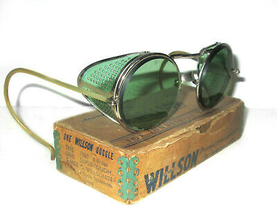 Antique Willson Green Sunglasses Goggles Vtg Cool Steampunk Safety Glasses Specs
