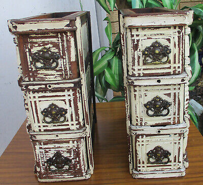 2 X Very Old, Desk Top/Office Drawers. 3 Drawers, Brass Handles. Solid