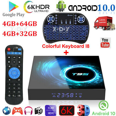 T95 Android 10.0 4+64G 6K UHD TV BOX Keyboard 2.4G WIFI H.265 Media Player H616