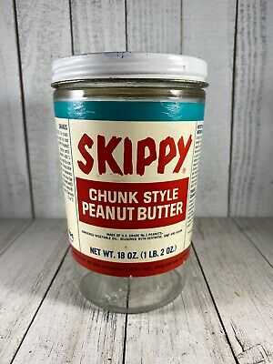 Vintage Skippy Chunk Style Peanut Butter 18 Oz Glass Embossed Jar Paper Lable