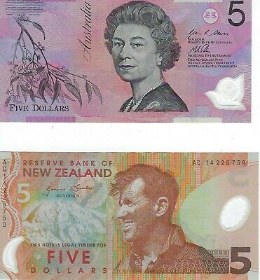 2 Banknotes 5 Dollars X 2 from Australia & New Zealand 1992 & 2009 Circulated