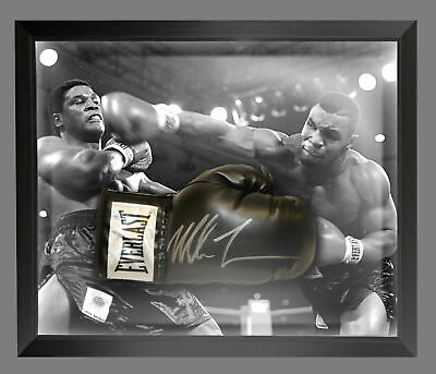 Mike Tyson Signed Black  Everlast Boxing Glove Presented In A Dome Frame. : A