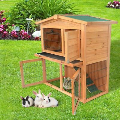 "Animal 36"" 40"" 48"" Wooden Rabbit Hutch Chicken Coop House Poultry Pet Cage"