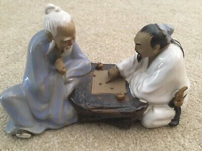 Vintage Chinese Shiwan Mudman Figure Pair Of Men Playing A Board Game Vgc (F5)