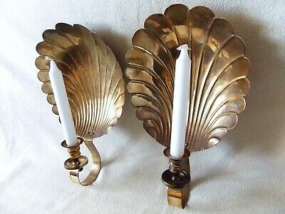 Fabulous Pair Brass Scallop Candle Sconce