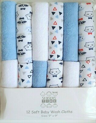 Pack of 12 Baby Boy Soft Wash Cloths Face Towel Wipes Flannel Blue Raccoon