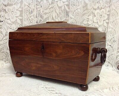 Georgian Regency Rosewood Sarcophagus Tea Caddy, Two Compartments, Original Bowl
