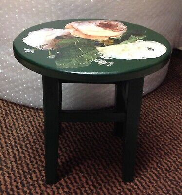 Vintage Small Wood Stool, Painted Dark Green With Depotage Floral Decoration